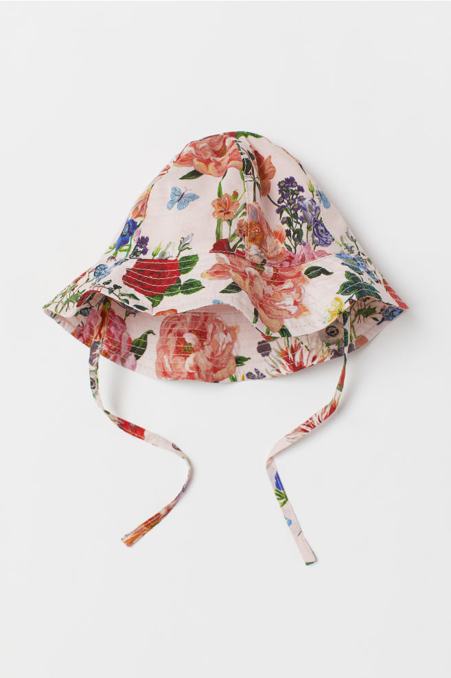 781c52c7d Patterned sun hat with ties - Light pink Floral - Kids