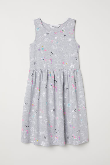 Patterned jersey dress - Grey/Unicorns - Kids | H&M