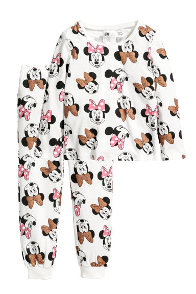 Jersey pyjamas - Natural white/Minnie Mouse - Kids | H&M