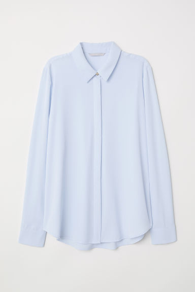 Long-sleeved blouse - Light blue - Ladies | H&M