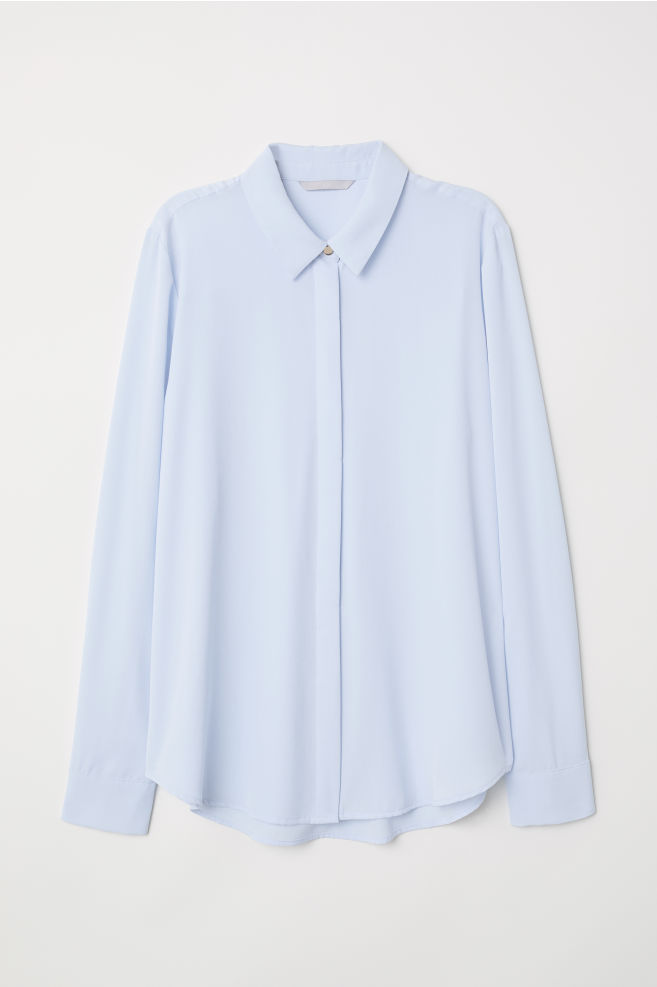a880c00428 Long-sleeved Blouse - Light blue - Ladies | H&M ...