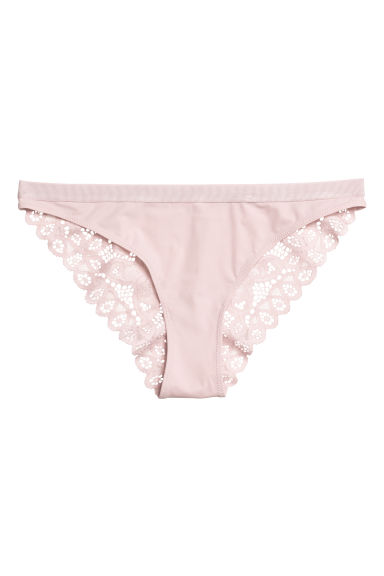 Lace bikini briefs - Powder pink - Ladies | H&M