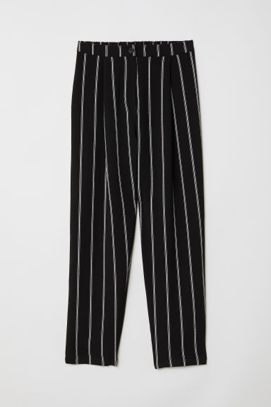 Wide trousers - Black/White striped - Ladies | H&M