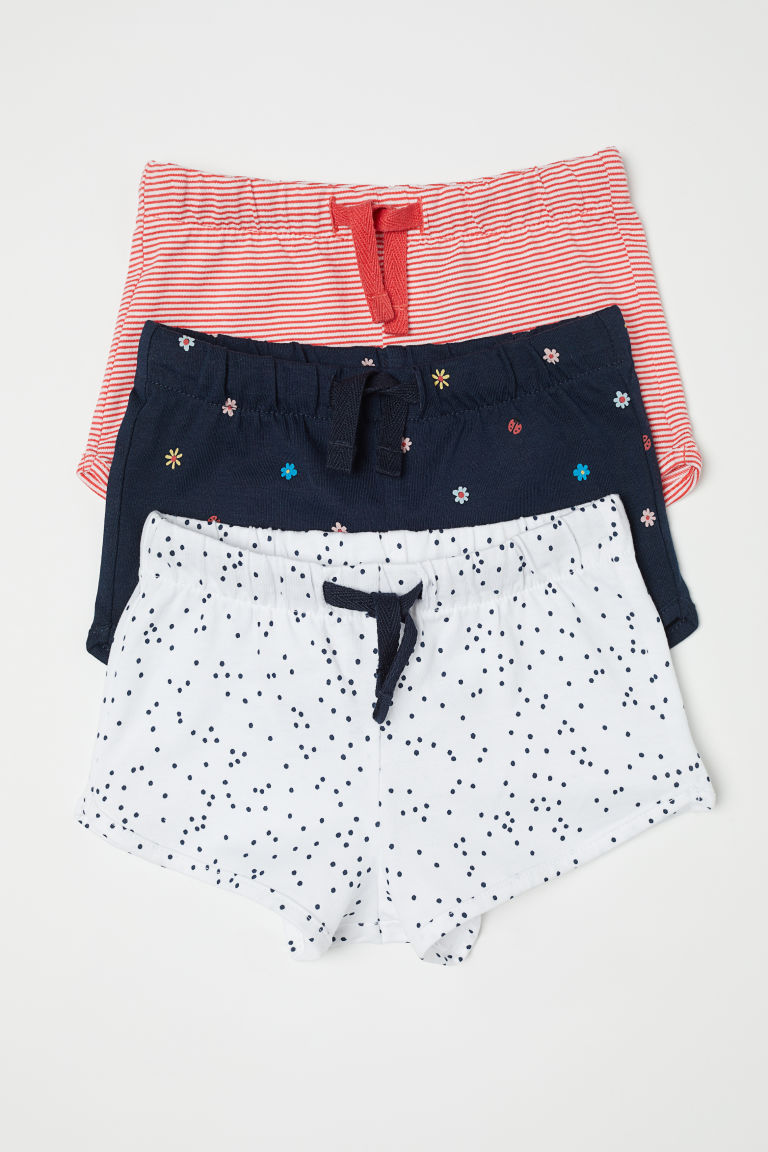 3-pack jersey shorts - Dark blue/Floral - Kids | H&M