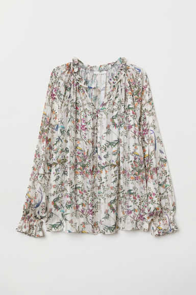 Blouse with Smocking - White/floral - Ladies | H&M US