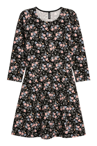 Jersey dress - Black/Floral -  | H&M IE