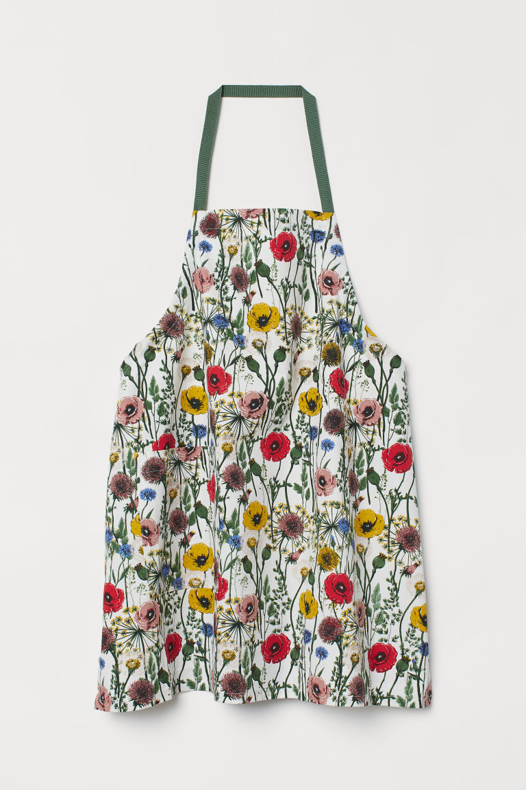 Patterned apron - White/Floral - Home All | H&M CN