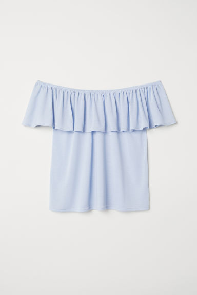 Short-sleeved top - Light blue - Ladies | H&M CN
