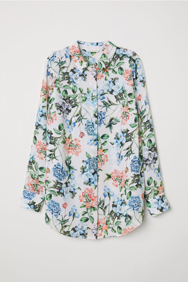 Mama Long Sleeved Blouse Whitefloral Ladies Hm In