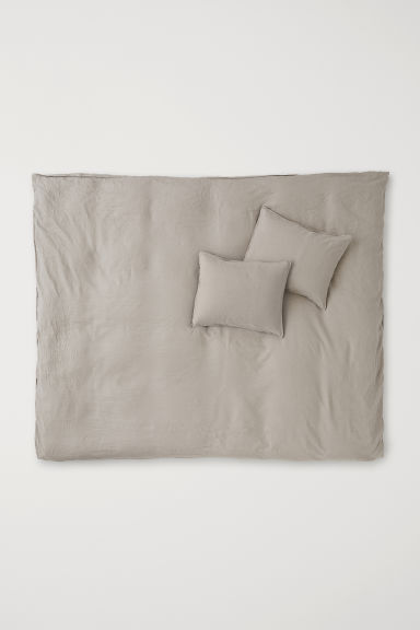 Washed Linen Duvet Cover Set - Light taupe - Home All | H&M CA