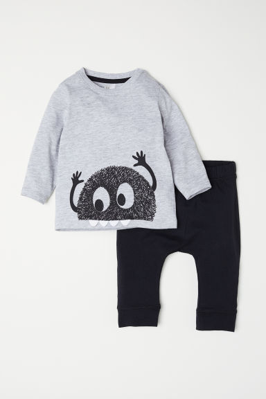 Top and leggings - Light grey marl/Monster - Kids | H&M CN