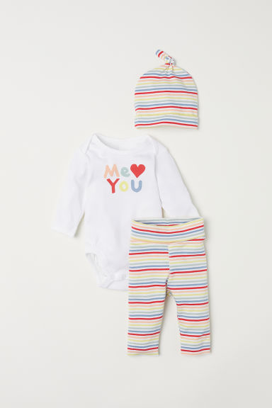 Jersey baby set - White/Multicoloured stripes - Kids | H&M