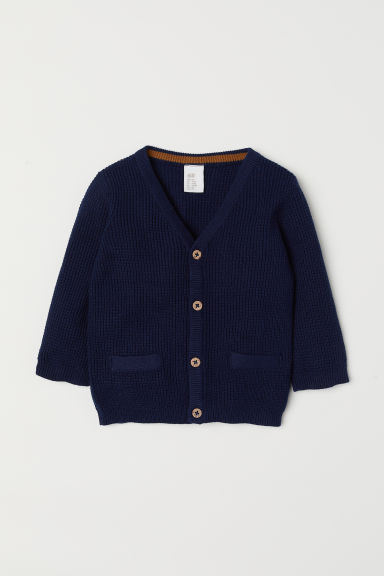 Textured-knit cardigan - Dark blue - Kids | H&M