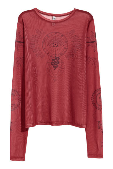 Mesh top with a motif - Rust red - Ladies | H&M