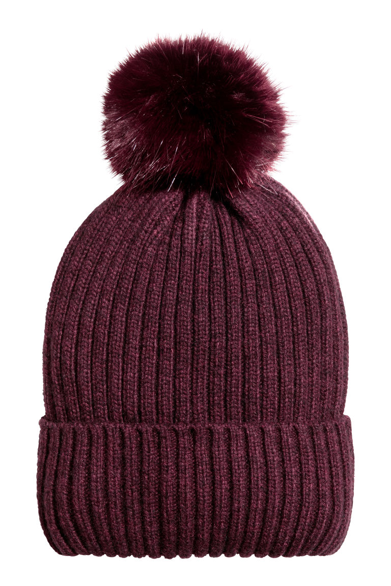 Ribbed hat - Burgundy - Ladies | H&M
