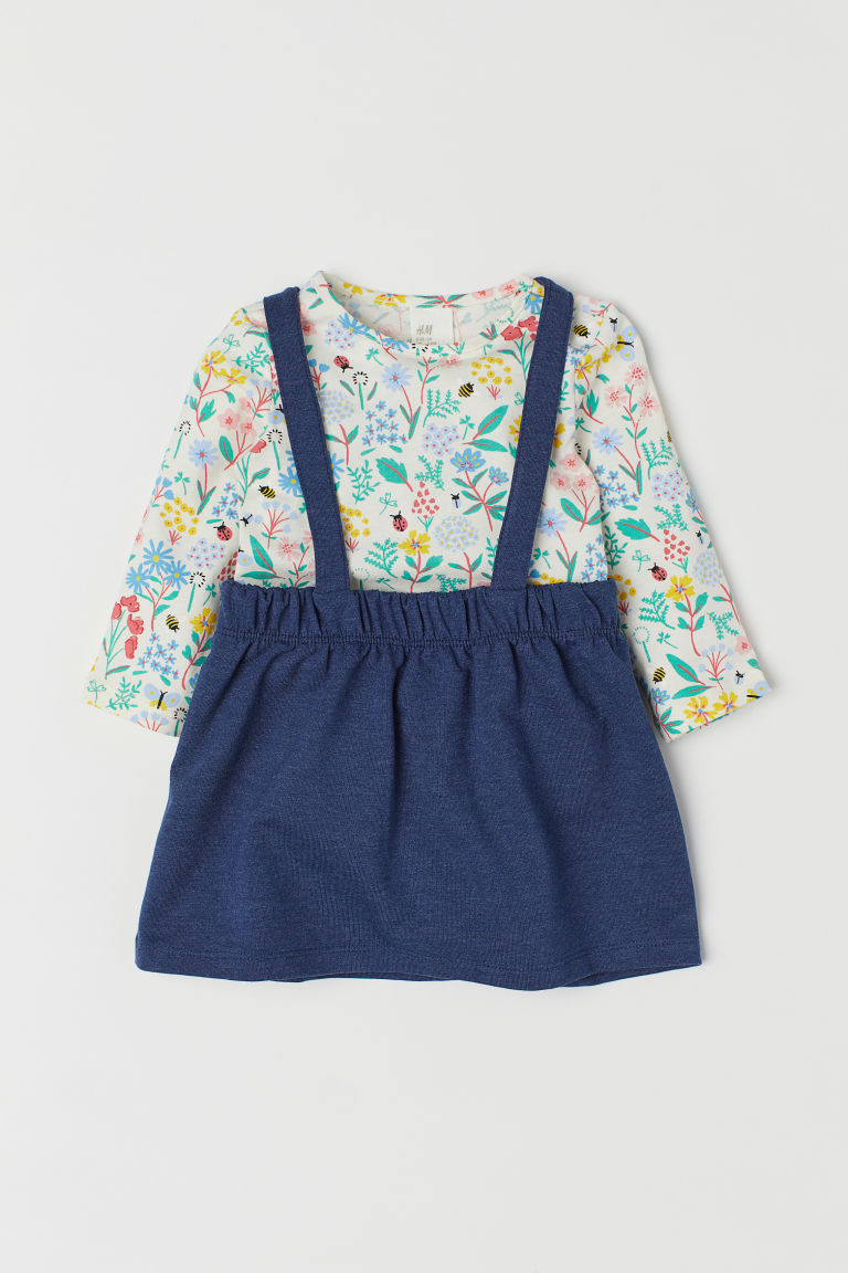 Top and dungaree dress - Dark blue/Floral - Kids | H&M CN