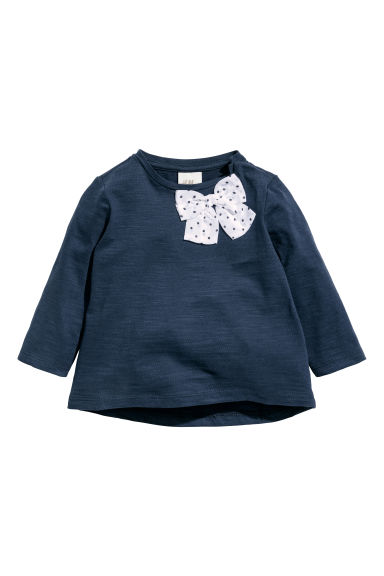 Jersey top with a bow - Dark blue - Kids | H&M CN