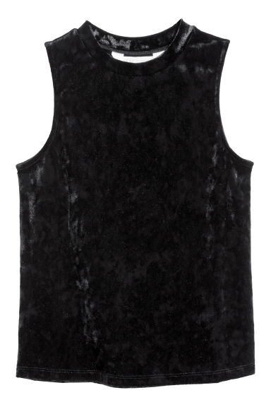 Top en velours - Noir -  | H&M FR