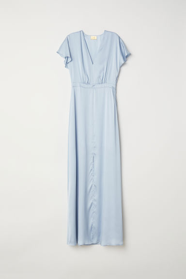 Long satin dress - Light blue -  | H&M