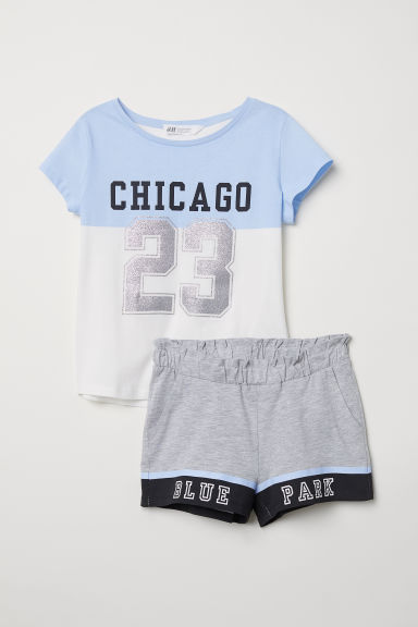 T-shirt en short - Wit/New York -  | H&M BE