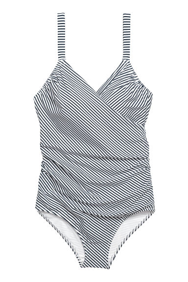 H&M+ Shaping swimsuit - White/Striped - Ladies | H&M CN