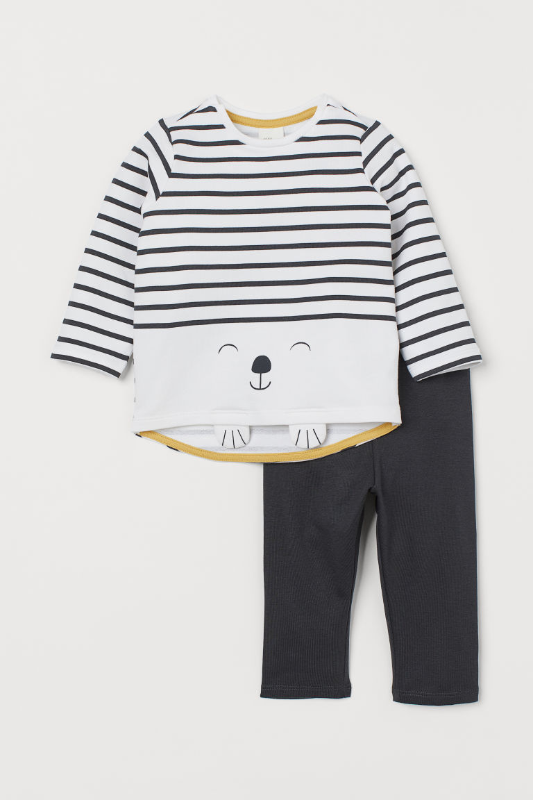 Top and leggings - White/Dog - Kids | H&M