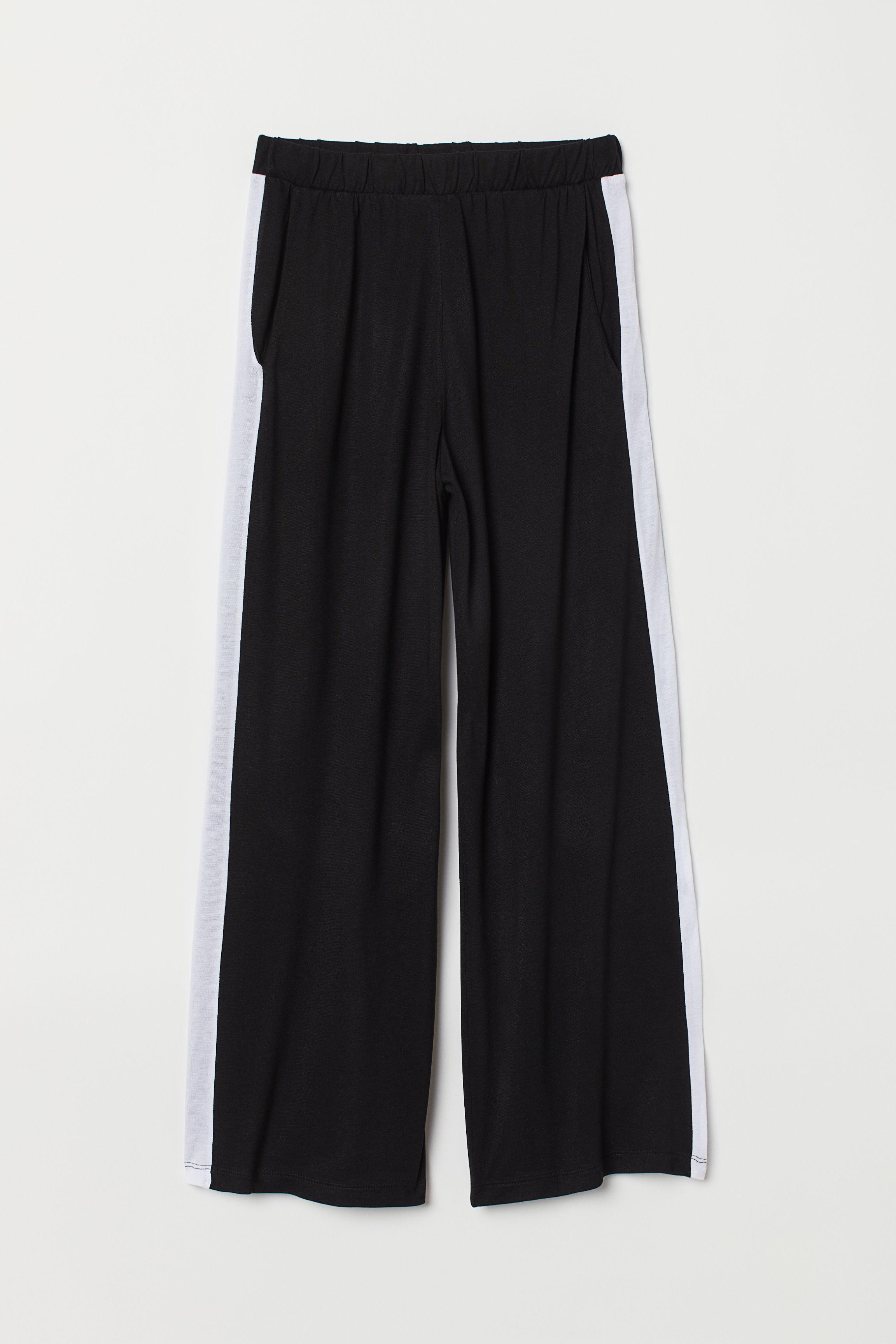 6f42aef6e2b0 Wide-cut Jersey Pants - Black/dotted - | H&M US