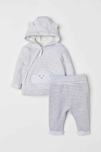 Hooded jacket and trousers - Grey marl/Cloud - Kids | H&M