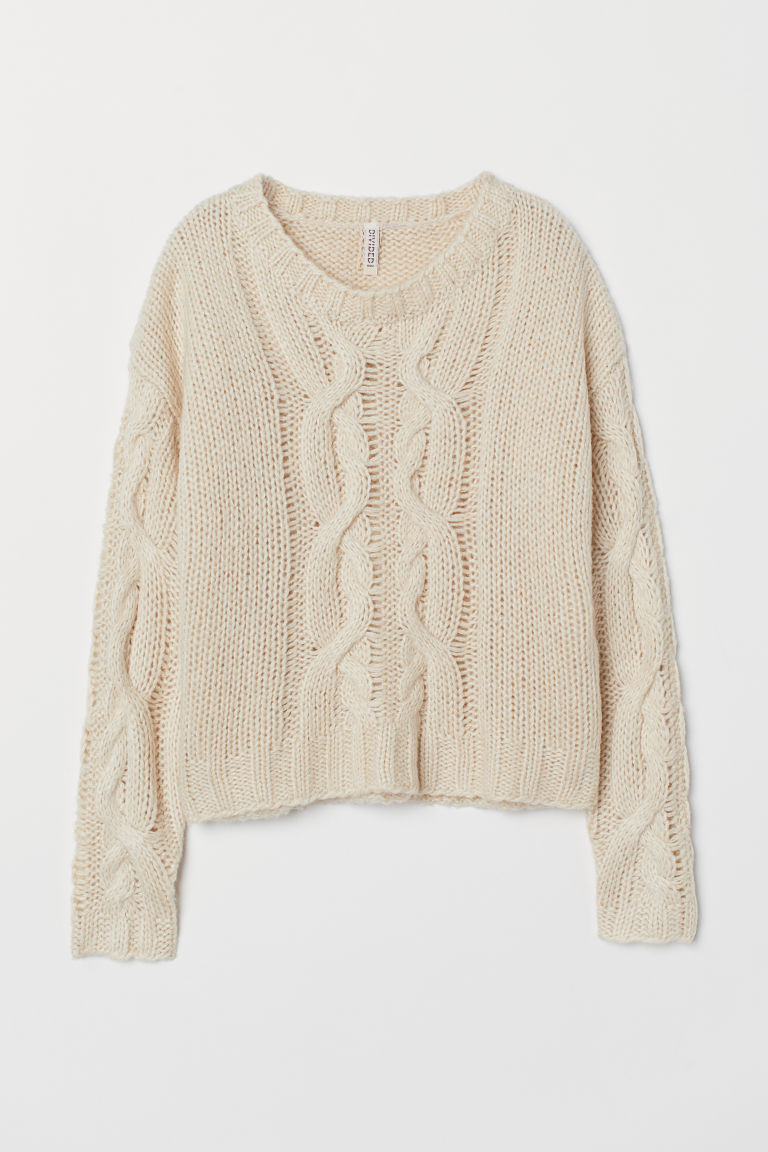 Cable-knit jumper - Beige - Ladies | H&M CN