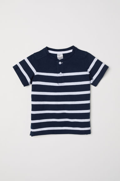 Cotton piqué T-shirt - Dark blue/Striped - Kids | H&M CN