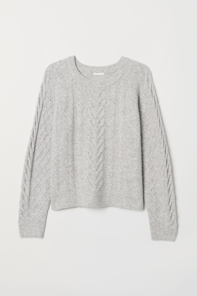 Cable-knit jumper - Light grey marl - Ladies | H&M