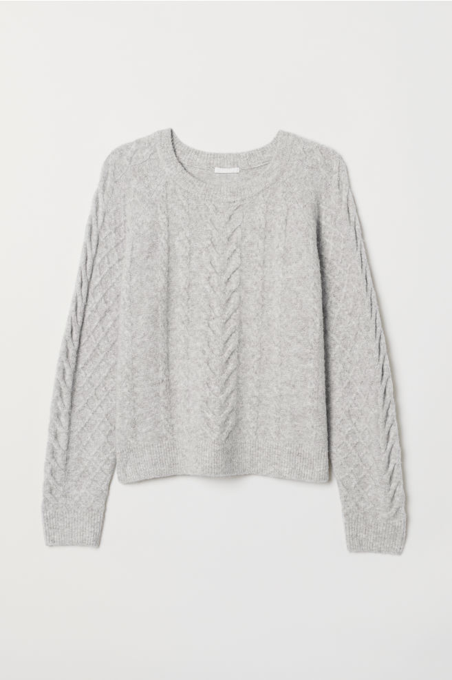 a54aa88c8 Cable-knit jumper - Light grey marl - Ladies