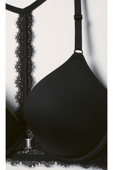 Push-up bra with a lace back - Black - Ladies | H&M