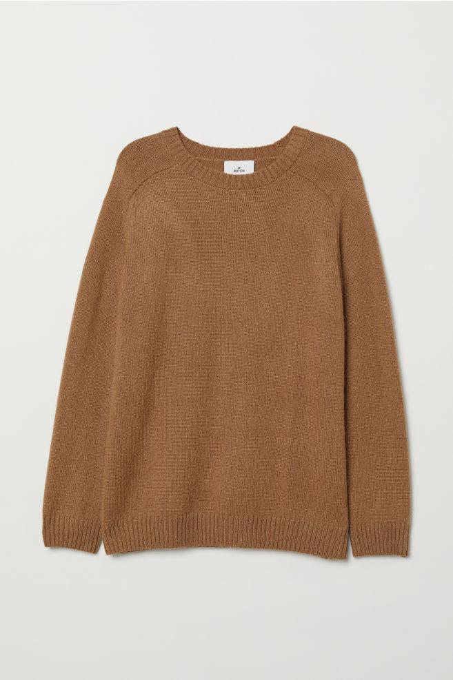 1eefe40d94e6bb Knitted wool-blend jumper - Light brown - Men | H&M ...