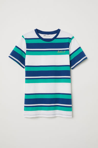 Block-coloured T-shirt - Green/Striped - Kids | H&M CN