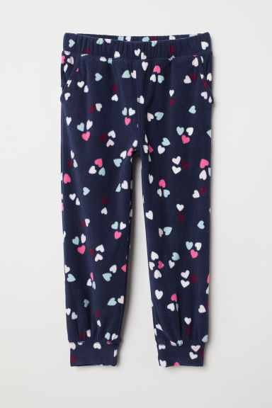 Fleece trousers - Dark blue/Hearts - Kids | H&M