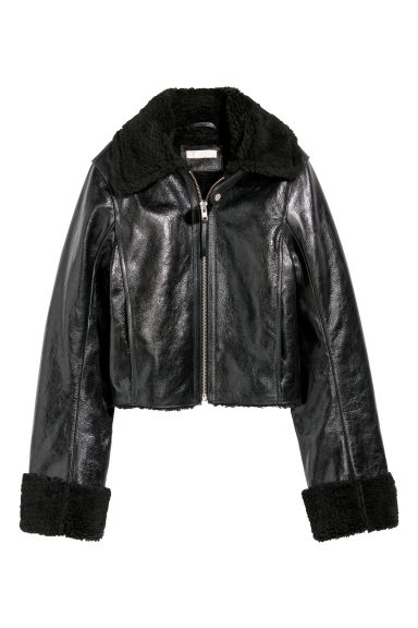 Leather biker jacket - Black -  | H&M CN
