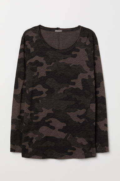 Long-sleeved jersey top - Khaki green/Patterned - Men | H&M CN