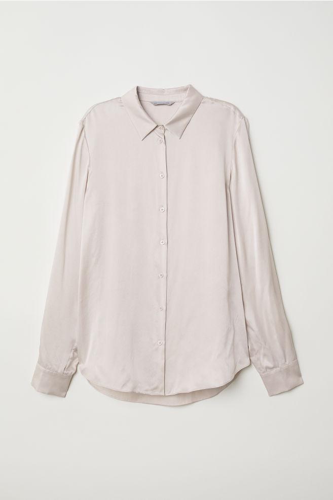 Hedvábná košile - Pudrová - ŽENY  8b8f9cae66