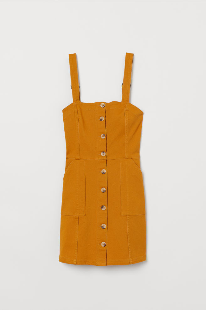 Bib Overall Dress - Mustard yellow/twill - Ladies | H&M US 5