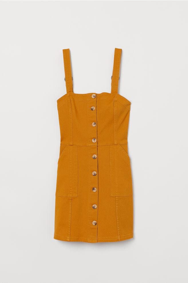 Bib Overall Dress - Mustard yellow/twill - Ladies | H&M US 5