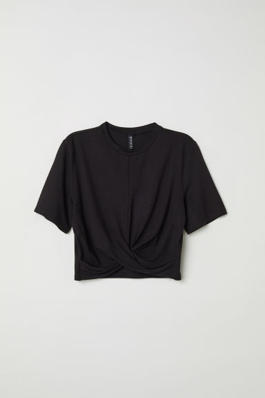 Knot-detail jersey top - Black -  | H&M CN