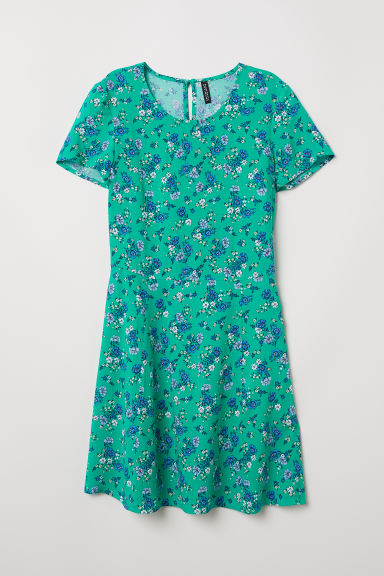 Patterned viscose dress - Green/Floral - Ladies | H&M