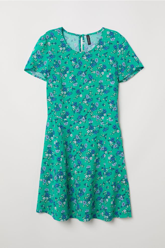 62aa28871b Wzorzysta sukienka z wiskozy - Zielony Kwiaty - ONA