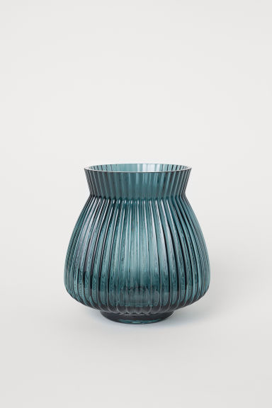 Glass vase - Dark petrol - Home All | H&M CN