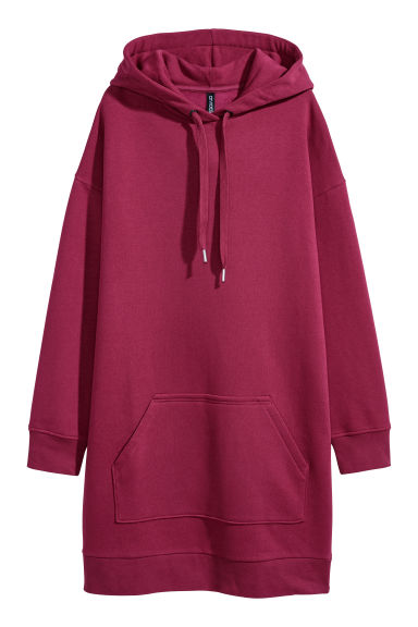 Hooded sweatshirt dress - Raspberry red - Ladies | H&M