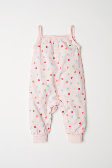 Sleeveless jersey romper - Light pink/Spotted - Kids | H&M