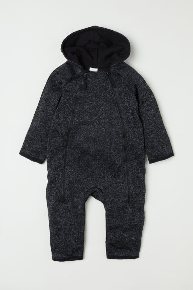 Knitted fleece all-in-one suit - Black marl - Kids | H&M