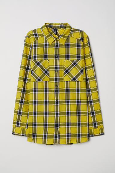 Checked shirt - Bright yellow/Checked - Ladies | H&M