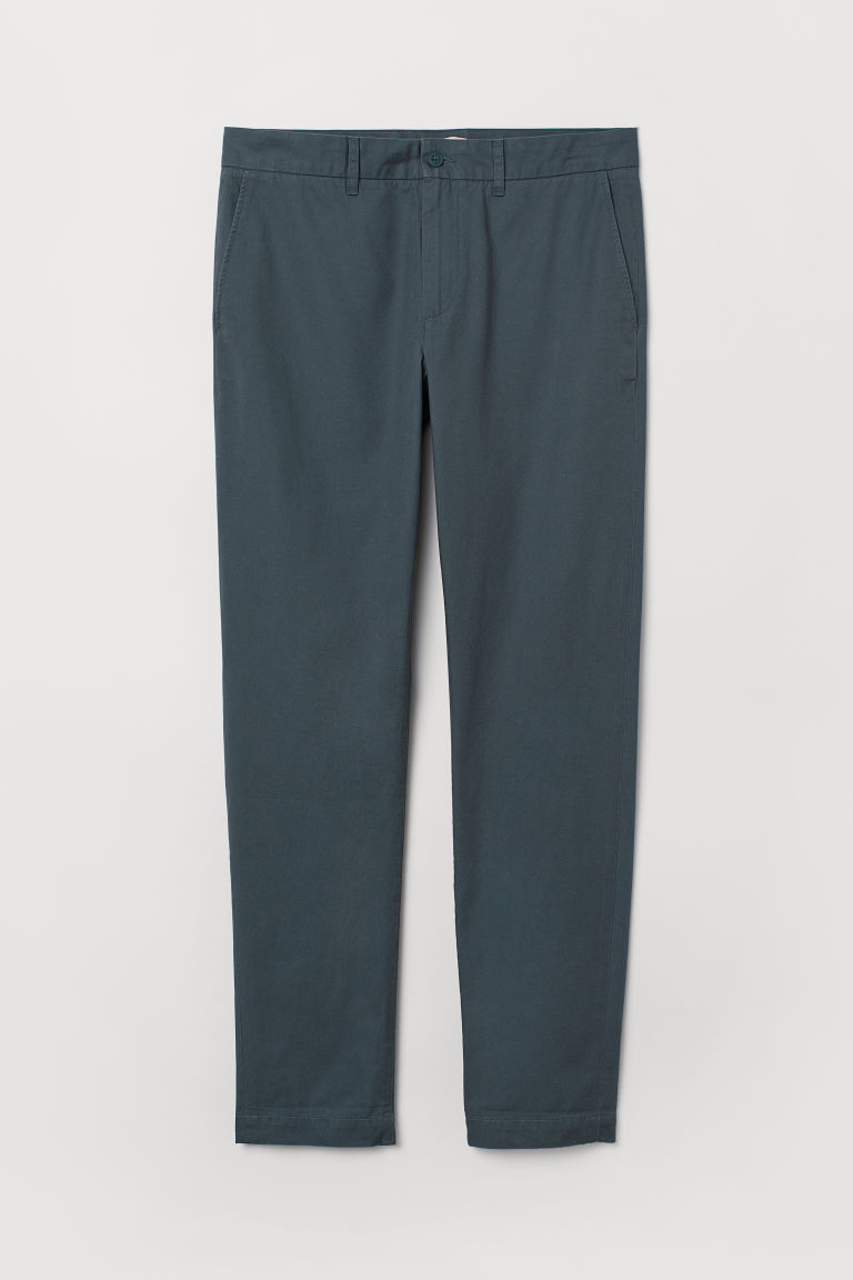 Cotton chinos Slim fit - Petrol - Men | H&M CN
